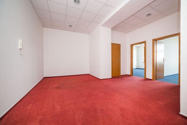 opava reality kancelar dvere cerveny koberec modry koberec podhled telefon