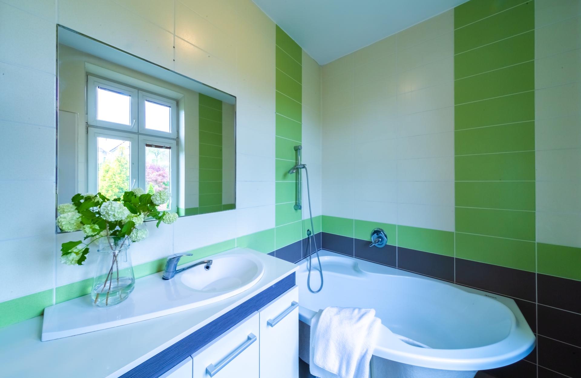 koupelna kvetina vana umyvadlo zrcadlo rucnik